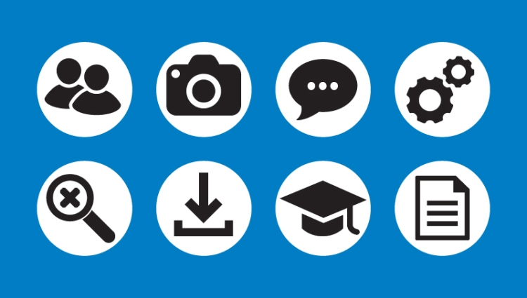 Eight icons demonstrating my ability to create simple illustrations.