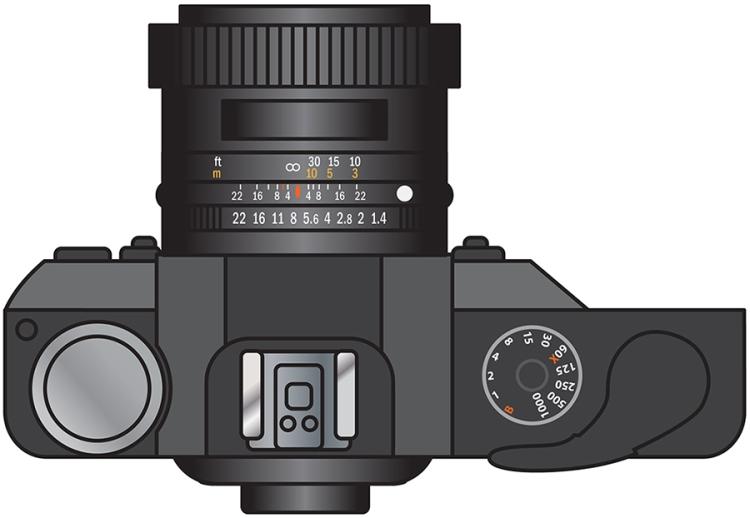 Overhead illustration of a camera which was used for a diagram.